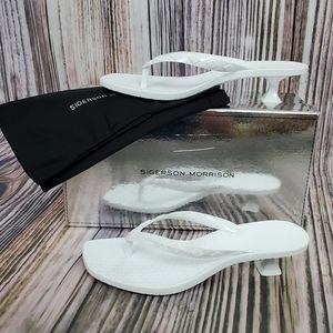 Sigerson Morrison White Jewel Kitten Heel Sandals